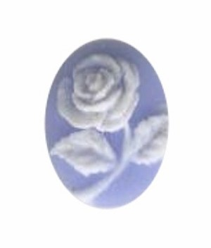 10x8mm Blue and White Rose Flower Resin Cameo 679q