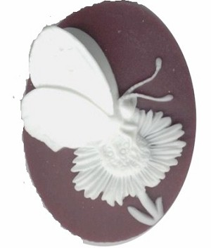 692q resin 40x30 purple butterfly cameo