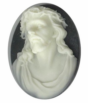 40x30mm Black Ivory Jesus Christian religious god church supply resin cameo 694q