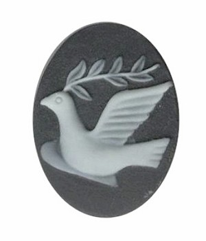 Peace Dove Resin Cameo Bird with Olive Branch Black Ivory 695q