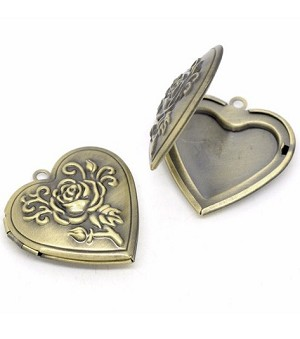 Antique Bronze Heart Locket with Rose 27x27mm 708x