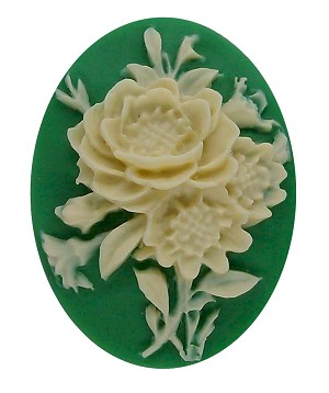 40x30mm green flower bouquet resin cameo cabachon 70r