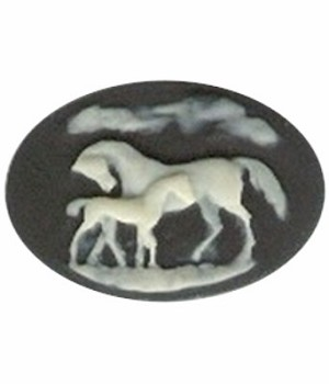 25x18mm Horses Cameo Mare with Colt Dam and Foal Black Resin Cameo 711R