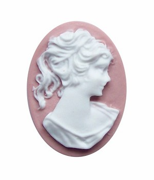 25x18mm Dusty Pink Ponytail Girl Resin Cameo 716x