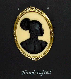 African American Woman Gold Brooch Pin Black Ivory Cameo Jewelry