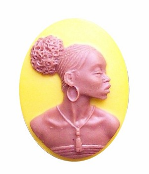 25x18mm Mustard Yellow African American Resin Cameo 721x