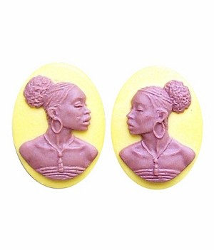 African American Cameo 18x13 Matched Pair Mustard Yellow and Brown Resin Cameos 725x