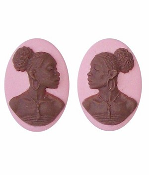 African American Cameo 18x13 Matched Pair Pink and Brown Resin Cameos 727x