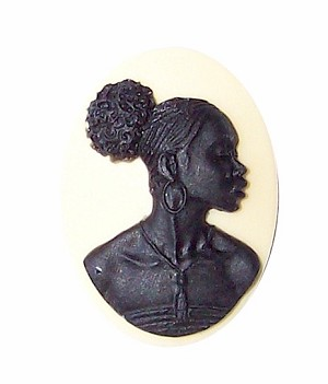 25x18mm Ivory and Black African American Resin Cameo 733x