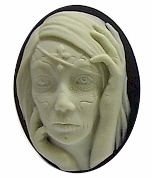 40x30mm Zombie Girl Black Resin Cabochon Halloween tattoo woman Cameo