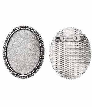 40x30mm Antique Silver Brooch Pin Cabochon Cameo Setting with Pin 745x