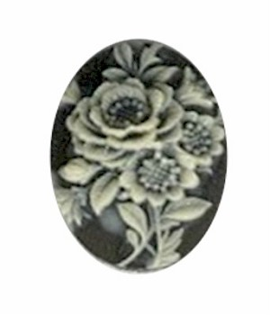 751R resin 18x13mm flower cameo