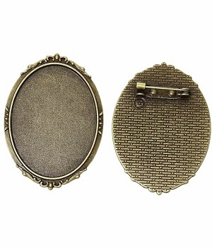 40x30mm Antique Bronze Cameo Cabochon Brooch Setting with Pin Back 756x