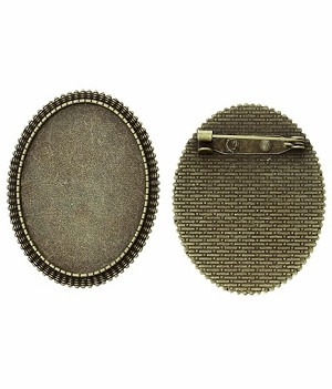 40x30mm Antique Bronze Cameo Cabochon Brooch Setting with Pin Back 762x