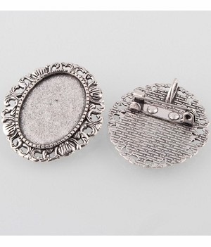 25x18mm Antique Silver Brooch Cameo Setting with Pendant Bail 766x