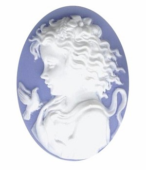 40x30mm Blue White Girl with Bird Resin Cameo 815q