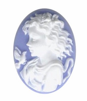 816q resin 25x18 girl with bird blue cameo