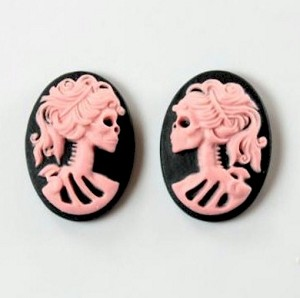 18x13mm pair skull Lolita Skeleton Resin Cameo Black Pink Goth Skeleton Zombie Halloween Theme 836x
