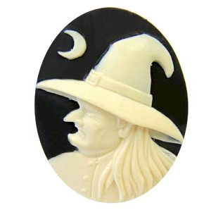 Wicked Witch Resin Cameo Black Ivory 40x30mm Halloween Supply  Cabochon