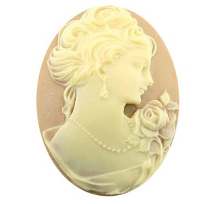 40x30mm Tan and Ivory Woman with Short Hair Resin Cameo 850x