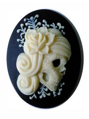 40x30mm Black Ivory Zombie Resin Cameo Gothic Skull woman cabochon  871x