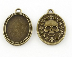 25x18mm Antique Bronze Skull Cameo Setting with Ring 876x