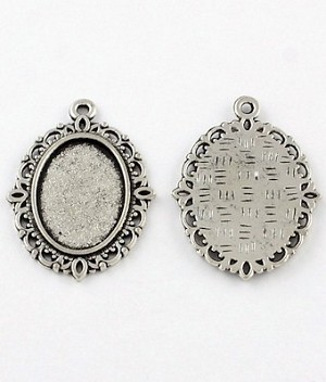 18x13mm Antique Silver Cabochon Pendant Setting 882x