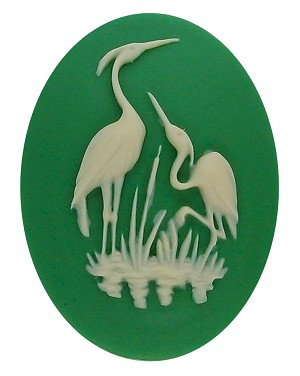 40x30mm Green and Ivory Heron Stork Bird Resin Cameo Cabochon 902q