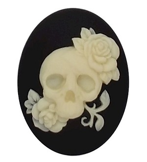 40x30mm Human Skull with flowers Day of the Dead Black Resin Cameo 909x