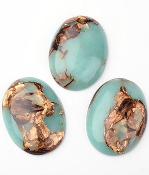 40x30mm Copper Matrix Turqouise Cabochon Flat Backed Stone 917x