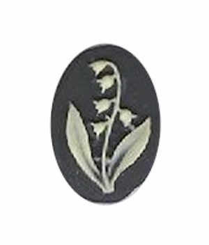 14x10mm black and ivory lily of the valley resin cameo 987q