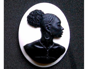 40x30mm African American Black Cameo on White Jewelry Supply 998x