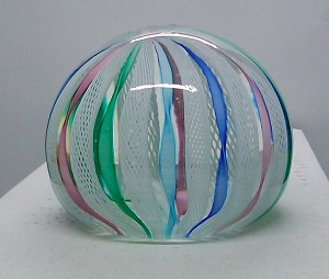SOLD - Vintage Murano Latticino Twisted Pastel Art Glass Paperweight G1103