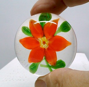 Glass Paperweight Vintage Chinese Red Poinsettia copy of Sandwich Glass