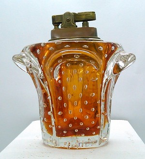 SOLD - - Vintage Art Glass Bullicante Controlled Bubble Mid-Century Murano Table Lighter