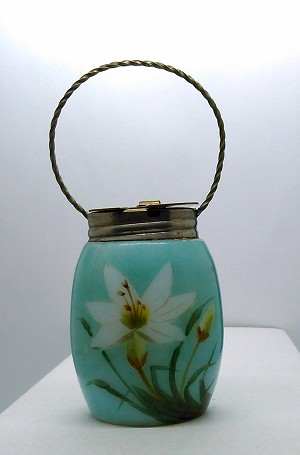 SOLD - - Antique Victorian Mustard Pot Painted opalware smith monroe mt washington