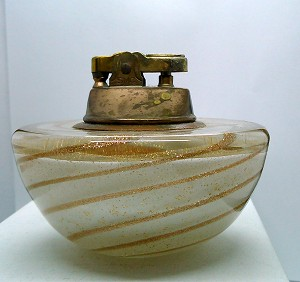 Vintage Blown Art Glass Mid-Century Murano white  gold swirl table lighter