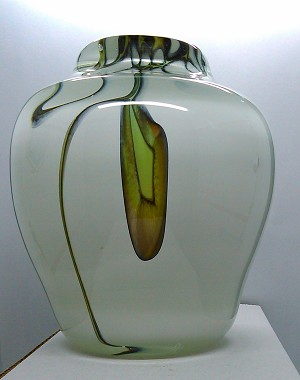 Signed John Ruth Hand Blown Studio Art Glass Vase 1987
