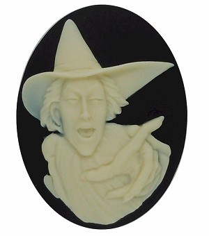 40x30mm Wicked Witch Resin Cameo Black Ivory Halloween Supply Cabochon  S2177