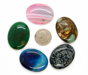 5pc. Seconds Closeout Cabochon Lot Semi Precious 40x30mm Flat Back Cabachon Stones READ DESCRIPTION L112