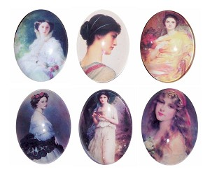 6pc lot  40x30mm Glass Cabochons images of Women Flat Back Loose for mounting or Jewelry L156