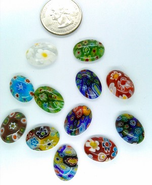 12pcs. Flat Backed millefiori 18x13mm Glass Cabochons mosaic art embellishment L23