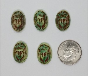 5pc Lot of MAX NEIGER 16x11mm green glass cabochons Art deco Egyptian Revival Scarab L40