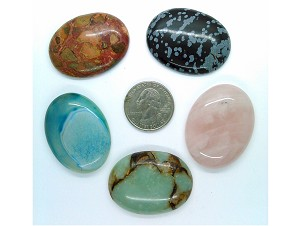 5pc. Seconds Closeout Cabochon Lot Semi Precious 40x30mm Flat Back Cabachon Stones READ DESCRIPTION L46