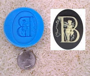 Food Safe Silicone Cameo Mold The LETTER B of the alphabet for candy soap