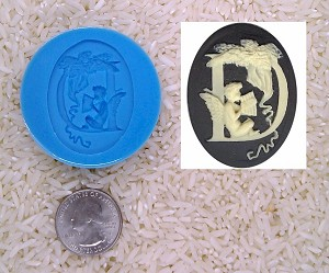 Food Safe Silicone Cameo Mold The LETTER E of the alphabet for candy soap