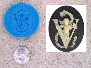 Food Safe Silicone Cameo Mold The LETTER V of the alphabet for candy soap