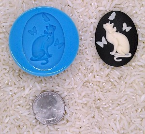 Cat Lover Cat Butterfly Food Safe Silicone Cameo Mold for candy soap clay