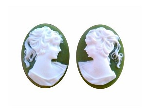 14x10mm green and WHITE ponytail girl matched pair resin cameos S2040
