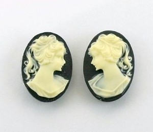 18x13mm black and ivory resin ponytail girl cameo matched pair S2041